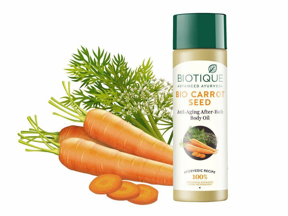 BIO CARROT SEED Anti-Aging After-Bath Body Oil, Biotique (МОРКОВЬ  Антивозрастное масло для тела, Биотик), 120 мл. купить по низкой цене с  доставкой по России.