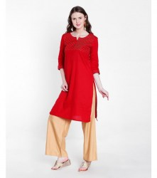 2-srishti-textured-straight-kurta-with-sequin-detailing-xl-red
