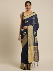 navy-blue-gold-coloured-silk-cotton-embroidered-saree-pache1
