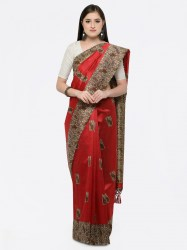 women-red-art-silk-printed-khadi-saree-saree-mall1