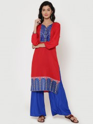 women-red-blue-printed-straight-kurta-size-l1