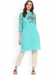 women-turquoise-blue-embroidered-a-line-kurta-size-xl